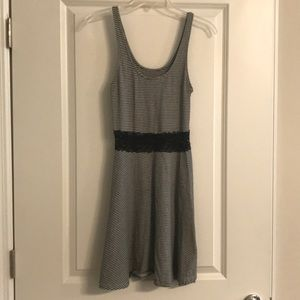 Striped sundress w/ black lace see-through waist